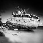 Wrecked at Road Bay by Kevin Holliday, f16 Monochrome, Score: 10