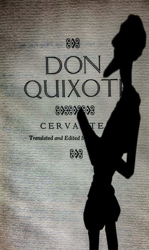 Cervantes Reading DQ by Larry Hartlaub, f16 B&W Digital, Score: 9
